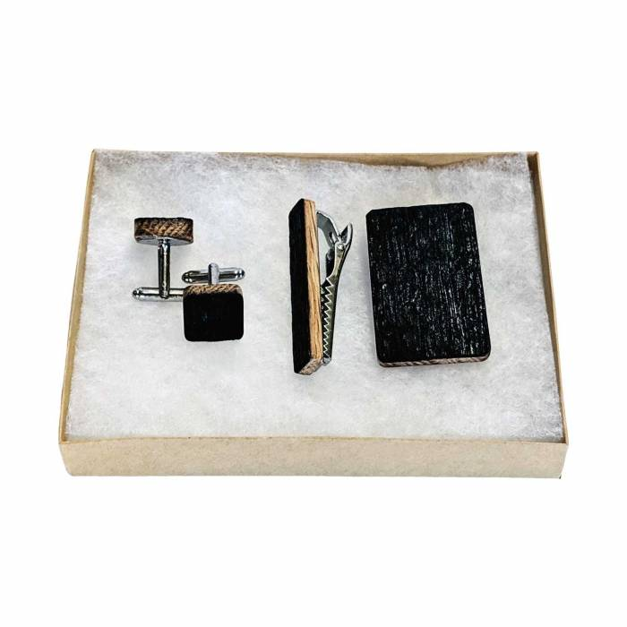 Groomsmen Gift Set with Bourbon Whiskey Barrrel Cuff links, Tie clip and money clip